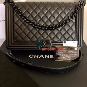 Chanel Boy Bag - So Black Caviar-New Medium, EUC